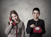 Children on the phone Royalty Free Stock Photos