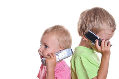 Children with phones royalty free stock image