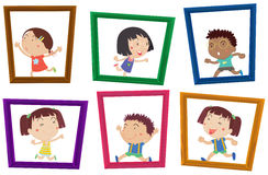 Children and photo frames Royalty Free Stock Images