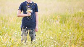 Children picking flowers on a meadow royalty free stock image