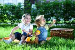 Children on picnic stock image