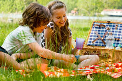 Children at Picnic. Two children with their lunch basket on a picnic royalty free stock images