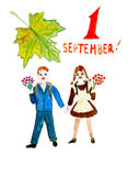Children picture on theme:   September 1 - it is Stock Image