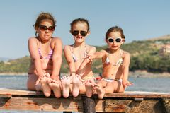 Children on the pier royalty free stock photography