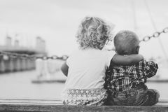 Children on pier Royalty Free Stock Photo