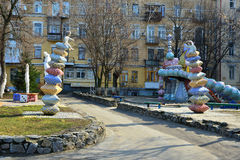 Children on the pillows. This sculpture is at the mall landscape in Kiev Stock Photography