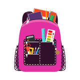 Children pink school bag pack. Pink schoolbags. Children school bag packs isolated on white background with notebook and equipment. Vector illustration Stock Photo