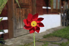 Red children's pinwheel Royalty Free Stock Image