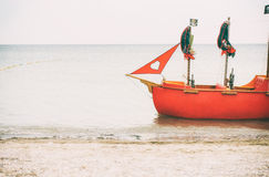 Children pirate ship in the sea Stock Photo