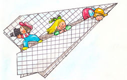 Children in plane. Children playing happily on a paper plane Royalty Free Stock Photos