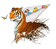 Children in plane plays with tiger and butterfly. Children in airplane plays with tiger and a beautiful butterfly Stock Image