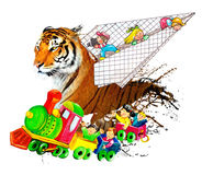Children in plane and train with a tiger. Children in plane and train photographing a beautiful butterfly Royalty Free Stock Photography