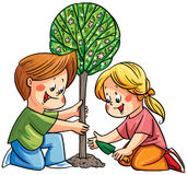 Children planning a tree. Illustration with two children planting a tree royalty free illustration