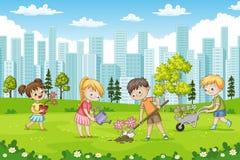 Children are planting flowers in a park. Vector illustration vector illustration