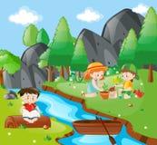 Children planting tree in the forest. Illustration vector illustration