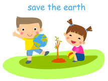 Children planting tree Stock Photo