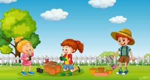 Children planting tree in pot. Illustration stock illustration