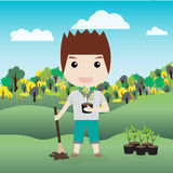 Children planting a tree vector illustration Royalty Free Stock Image