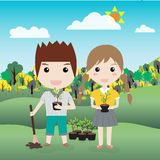 Children planting a tree vector illustration Stock Images