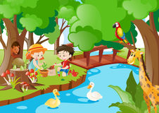Children planting trees in the woods. Illustration royalty free illustration