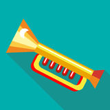 Children plastic trumpet icon, flat style Royalty Free Stock Photo