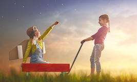 Children play astronaut Royalty Free Stock Images