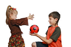 Children play with a ball. Children, the brother and the sister play with a ball Royalty Free Stock Images
