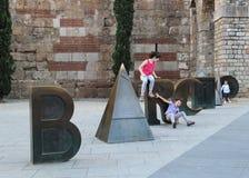 Children play in Barcelona Stock Image