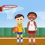 Children play basketball. Illustration of children play basketball Royalty Free Stock Photo