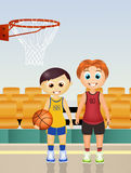 Children play basketball. Illustration of children play basketball Stock Photo