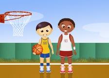 Children play basketball. Illustration of children play basketball Royalty Free Stock Photos