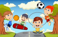 Children play basketball, jumping rope, soccer and skateboard on the street cartoon vector illustration Stock Photo