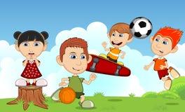 Children play basketball, soccer and skateboard on the street cartoon Stock Photos