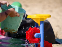 Children play on beach Stock Image