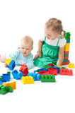Children play with blocks in studio Royalty Free Stock Image