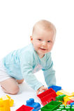 Children play with blocks in studio Royalty Free Stock Images
