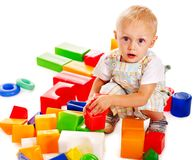 Children play building blocks. Stock Image