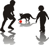 Children play with a cat. Illustration of a boy, girl and cat Royalty Free Stock Photography