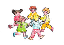 Children play in a circle. Group of five smiling children playing in a circle Stock Photos