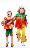 Children play clowns Stock Images