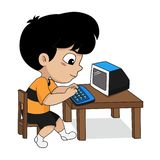Children play a computer. Vector and illustration royalty free illustration