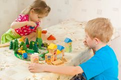 Children play cubes Royalty Free Stock Photo