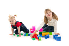 Children play with cubes Stock Image