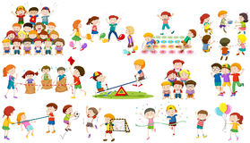 Children play different kind of game Royalty Free Stock Image