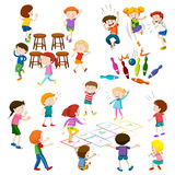 Children play different kind of games Royalty Free Stock Images