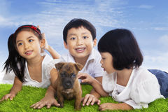 Children play with dog puppy stock photos