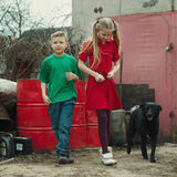 Children play at dump with dog Royalty Free Stock Image