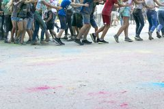 Children play at the Festival of colours Stock Photography