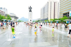 Children play in fountains at Seoul Plaza Royalty Free Stock Images