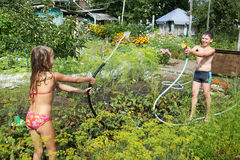 Children play with garden hoses Stock Image